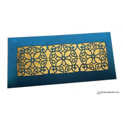 Front view of Signature Laser Cut Satin Shagun Envelope in Sapphire Blue