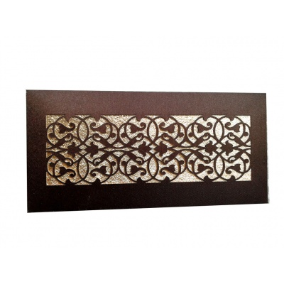 Front view of Shagun Money Envelope in Rich Brown with Laser Cut Satin Fabric