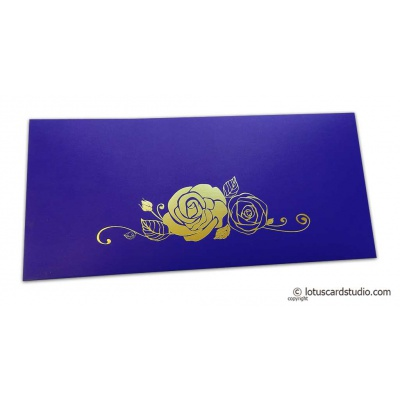 Front view of Super Indigo Money Envelope with Foiled Rose