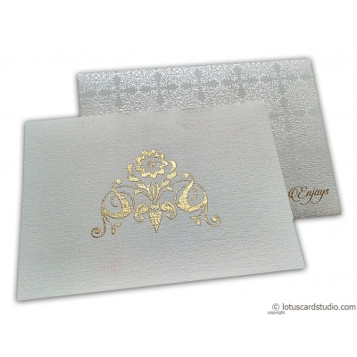 Thank you Card in Ivory Canvas with Golden Symbol