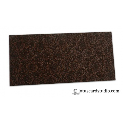 Front view of The Brown Flower Flocked Money Envelope