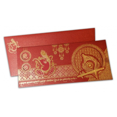 Venetian Red Glitter Wedding Card - WC_121