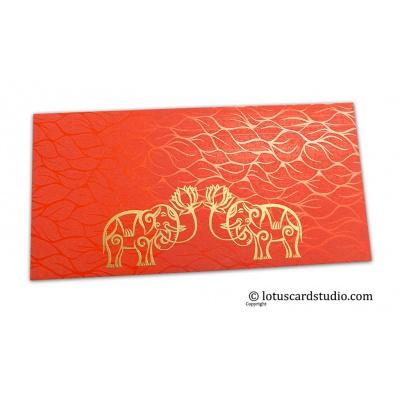 Front view of Vibrant Foil Metallic Orange Money Envelope with Golden Elephants