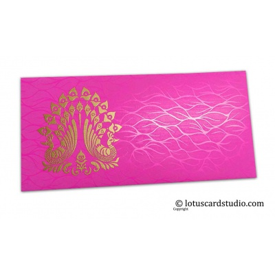 Front view of Vibrant Foil Metallic Pink Money Envelope with Golden Peacocks