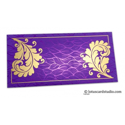 Front view of Vibrant Foil Metallic Purple Shagun Gift Envelope with Golden Curly Vine