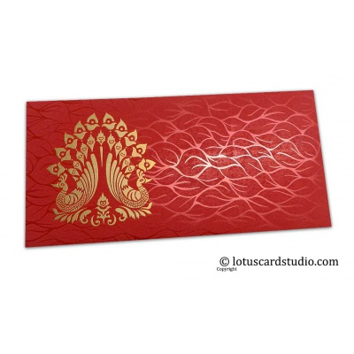 Front view of Vibrant Foil Metallic Red Money Envelope with Golden Peacocks