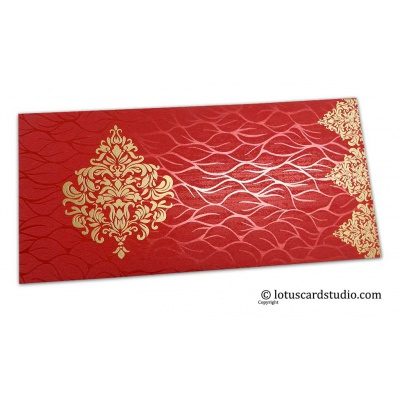 Front view of Vibrant Foil Metallic Red Shagun Envelope with Golden Victorian Floral