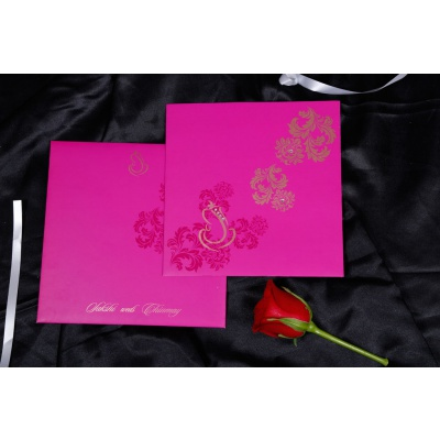 Wedding Invite in Mexican Pink with Golden Ganesh and Flowers