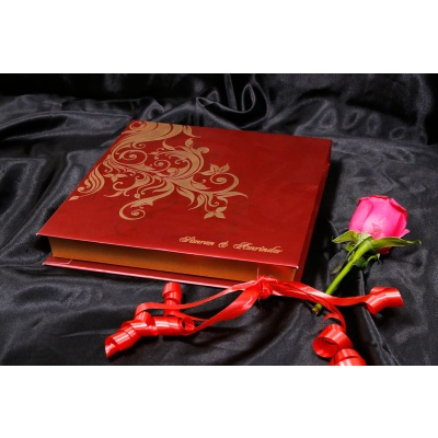 Boxed Wedding Card in Red with Golden Floral Pattern