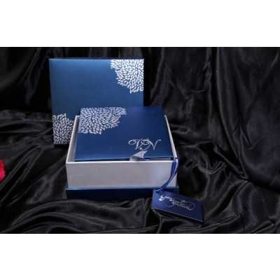 Boxed Wedding Card in Blue with Raised Silver Leaves
