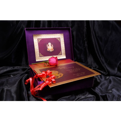 Inside of Boxed Wedding Card in Super Indigo with Golden Mirror Frame