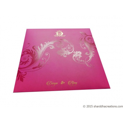 Beautiful Pink Wedding Invitation Card - WC_70 Image5
