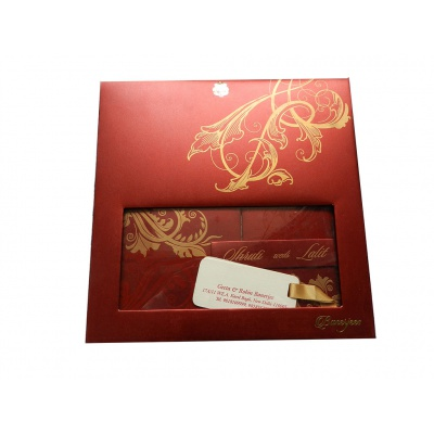 Boxed Wedding Invite in Red with Golden Floral Pattern - Image2