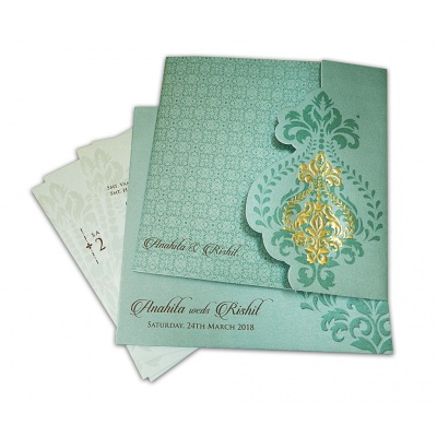 Embossed Floral Wedding Card in Shimmer Mint Green