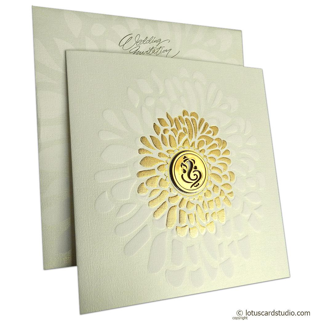 gold shine ganesh invitation card