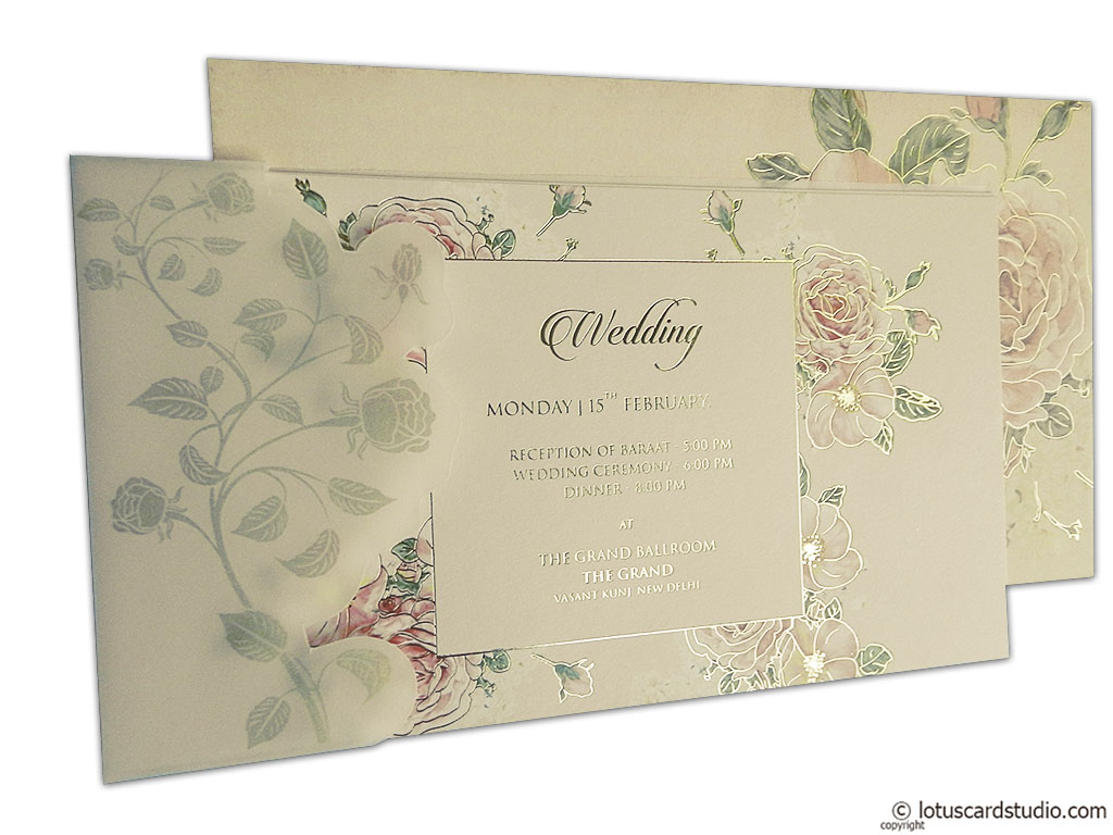 pink rose wedding card wc_95 - Indian Wedding Cards Online