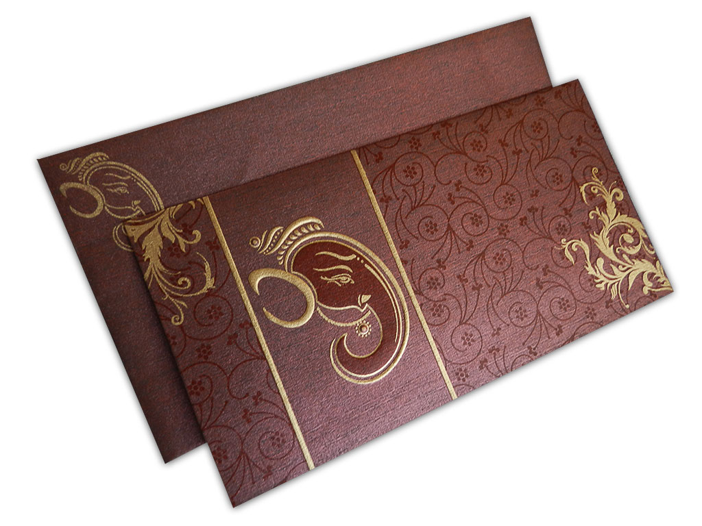 reddish brown ganesh indian wedding card