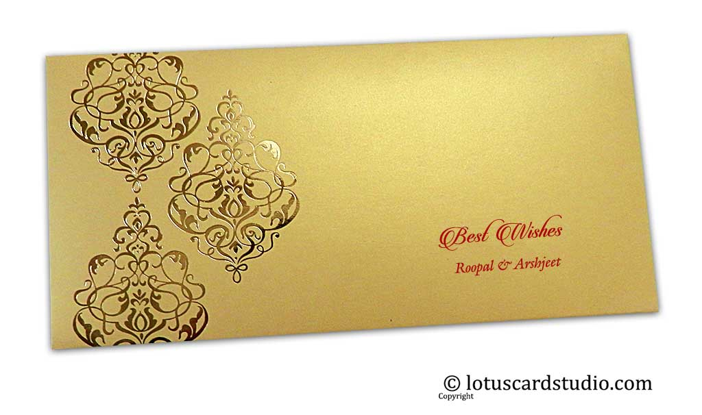 Personalised Hot Foil Stamped Personalised Money Envelope in Golden